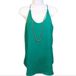 5/$25 Green Chiffon Tank with Gold Chain Large